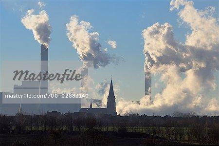 Frimmersdorf Power Station, Church in the Foreground, Grevenbroich, North Rhine-Westphalia, Germany