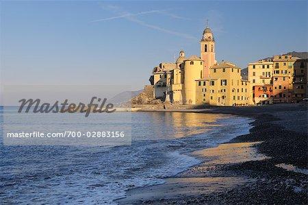 Beach in Camogli at the Italian Riviera, Province of Genoa, Liguria, Italy