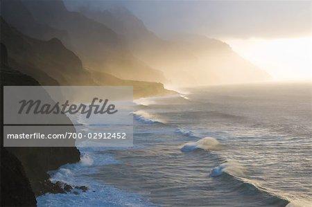 Sunset on Kalalau Trail, Na Pali Coast State Park, Hawaii, USA
