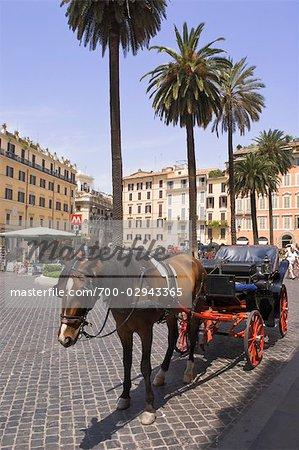 Horse-Drawn Carriage, Piazza di Spagna,Rome,Italy