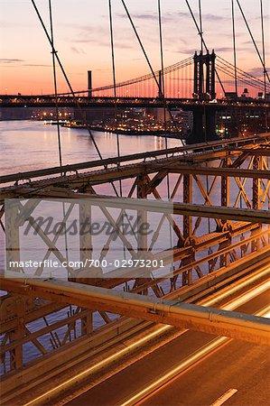 Manhattan Bridge and Brooklyn Bridge, New York City, New York, USA