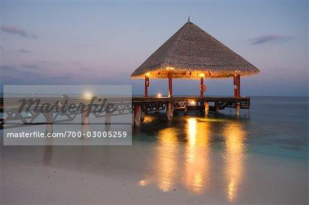 Pavilion on Dock at Sunset, Rannalhi, South Male Atoll, Maldives