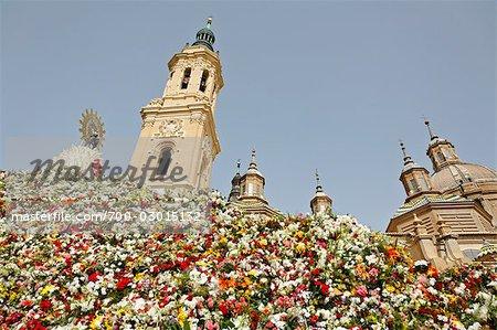 Flowers Offered to the Virgin, Basilica del Pilar, Aragon, Zaragoza, Spain