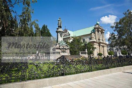 Monument to Adam Mickiewicz and Carmelite Church, Warsaw, Poland