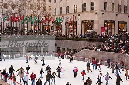 Ice Skating at Rockefeller Center, Manhattan, New York City, New York, USA