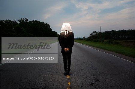 Businessman Wearing Lampshade