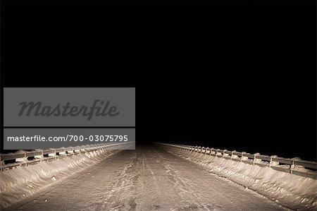 Snow Covered Bridge at Night, Prince George, British Columbia, Canada