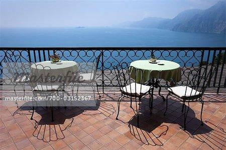 Terrace, Praiano, Amalfi Coast, Province Of Salerno, Campania, Italy    Stock Photo