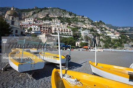 Beach, Positano, Amalfi Coast, Province of Salerno, Campania, Italy