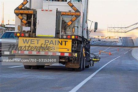 Line Painting on New Road, Calgary, Alberta, Canada
