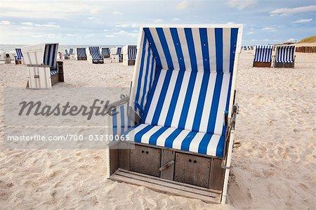 Wicker Beach Chair Sylt Schleswig Holstein Germany Stock Photo