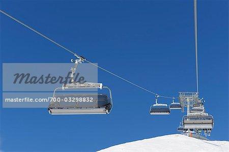 Ski Lift, Snowplows, Zugspitze, Bavaria, Germany