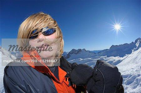 Portrait of Teenager, Zugspitze, Bavaria, Germany