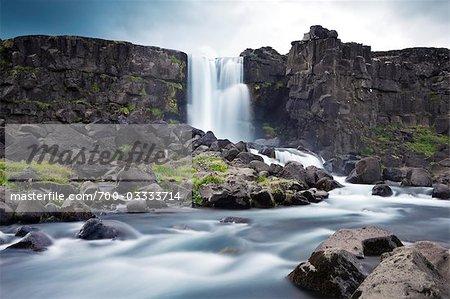 Oxararfoss Waterfall at Thingvellir National Park, Iceland