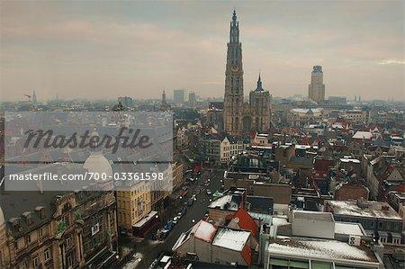 Overview of Antwerp in Winter, Belgium