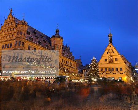 Christmas Market at Dusk, Rothenburg ob der Tauber, Bavaria, Germany