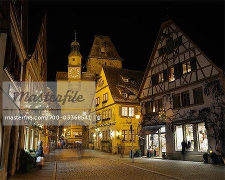 Markus Tower and Shops, Rothenburg ob der Tauber, Bavaria, Germany