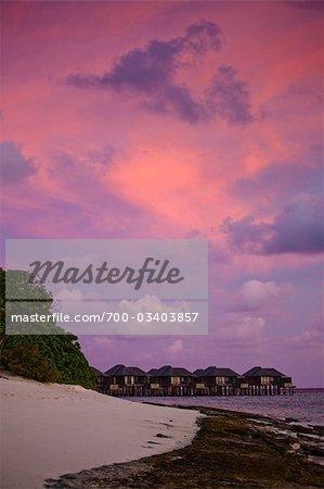 Wharf and Beach Huts at Sunset, The Beach House at Manafaru, Maldives