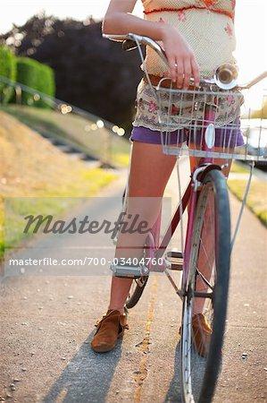 Woman With Cruiser Bike, Portland, Oregon, USA