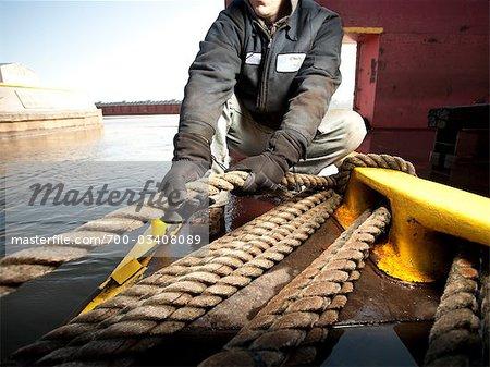 Man Working at Shipyard