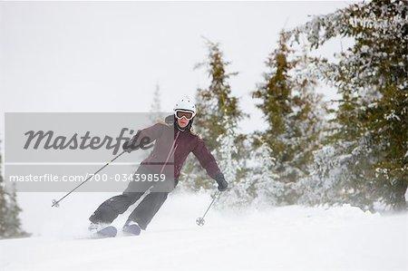 Woman Snow Cat Skiing near Steamboat Springs, Colorado, USA