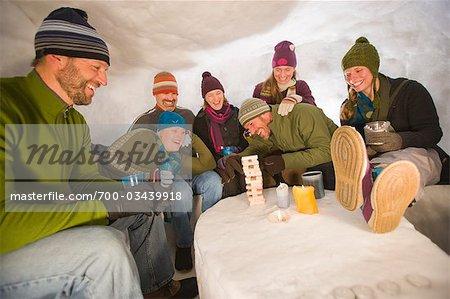 People in Igloo, Steamboat Springs, Colorado, USA