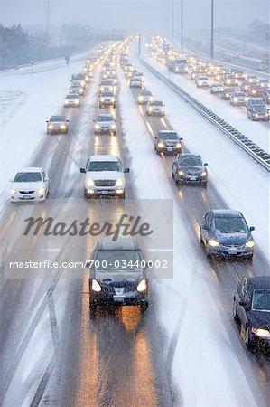 Bumper to Bumper Traffic on Highway 401 in Winter, Ontario, Canada