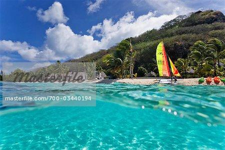 Sailboat on Beach, Motu Toopua, Bora Bora, Tahiti, French Polynesia, Oceania
