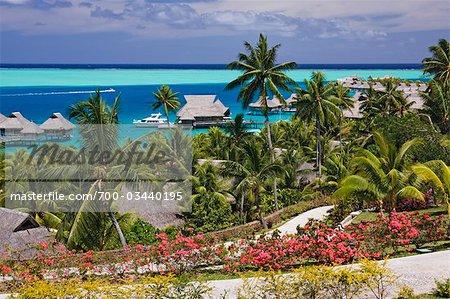 Overview of Resort, Bora Bora Nui Resort, Motu Toopua, Bora Bora, French Polynesia, Oceania