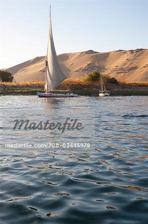 Felucca on Sailing on Nile River, Aswan, Egypt
