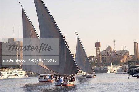 Felucca Sailing on Nile River, Aswan, Egypt