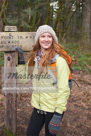 Woman Hiking, Columbia River Gorge, Oregon, USA