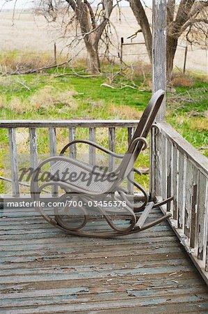 Rocking Chair on Porch, Kansas, USA