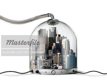City inside Pressurized Glass Dome