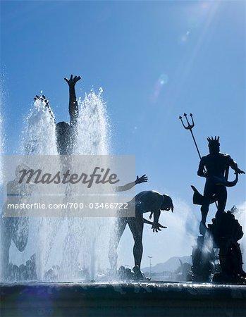 Neptune Fountain at Macroplaza, Monterrey, Nuevo Leon, Mexico