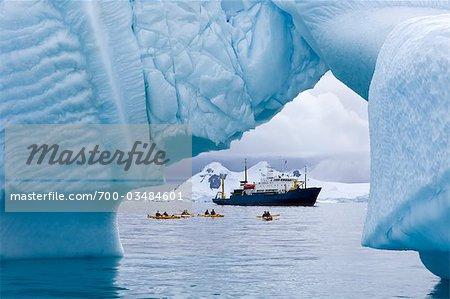 Kayakers and Russian Expedition Ship Akademik Shokalskiy, Antarctic Ocean, Antarctica