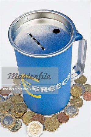 Tin Can Bank with Euros