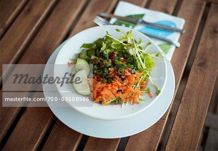 Organic Salad on Wooden Table