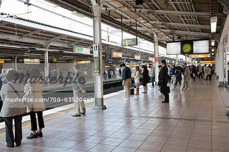 People Waiting on Platform, Tokyo, Japan