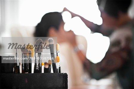 Bride Having Make-Up Applied