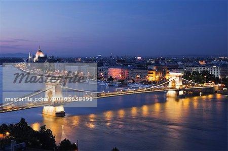 Chain Bridge and River Danube, Budapest, Hungary