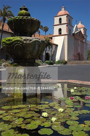 Mission Santa Barbara and Fountain, Santa Barbara, California, USA