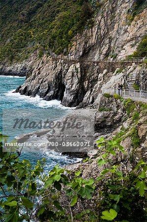 Walkway, Manarola, Riomaggiore, Cinque Terre, Province of La Spezia, Ligurian Coast, Italy