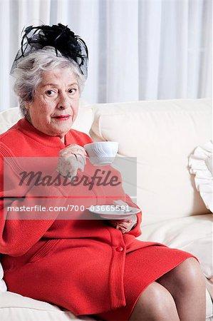 Elderly Woman Drinking Tea