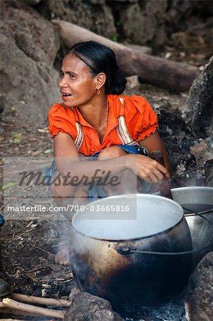 Woman Cooking, Waihola Village, Sumba, Indonesia
