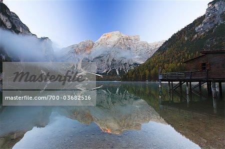 Boathouse on Lago di Braies and Mount Seekofel, Bolzano Province, Bozen Province, Alto Adige, South Tyrol, Dolomites, Italy