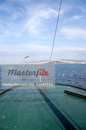 Turkish Flag on Stern of Boat, Istanbul, Turkey