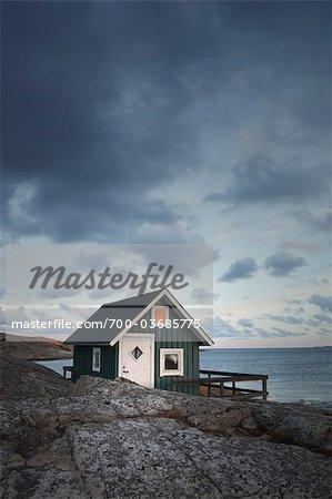 Hut on Shoreline at Sunset, Bohuslaen, Vastra Gotaland County, Gotaland, Sweden
