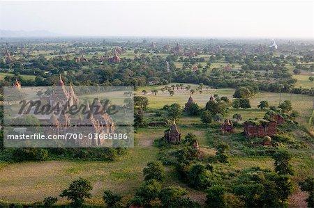 Overview of Temples in Bagan, Mandalay Division, Myanmar