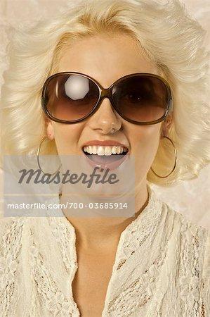 Portrait of Woman in 1970's Style